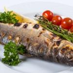 Сибас запеченный с овощами