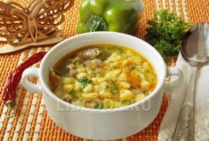 Суп из куриных потрохов с галушками
