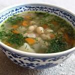 Суп постный с белой фасолью и грибами